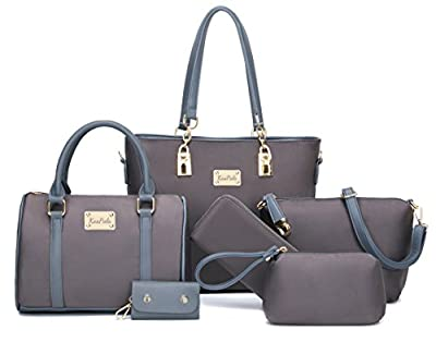 Womens 6 Pcs Shoulder Bags Top-Handle Handbag Tote Purse Set (gray-2)