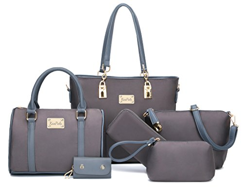 Womens 6 Pcs Shoulder Bags Top-Handle Handbag Tote Purse Set (gray-2)
