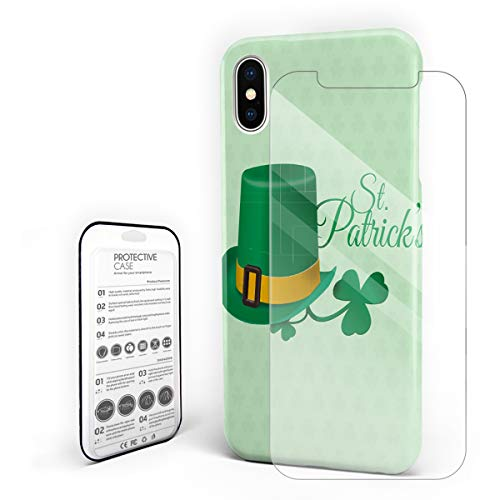 Protective Phone Case for iPhone X Case Cover, Leprechaun Lucky Hat Motif Clover Silhouettes St.Patrick's Day, Shockproof Anti-Scratch Hard Back Case with Tempered Glass Screen Protector
