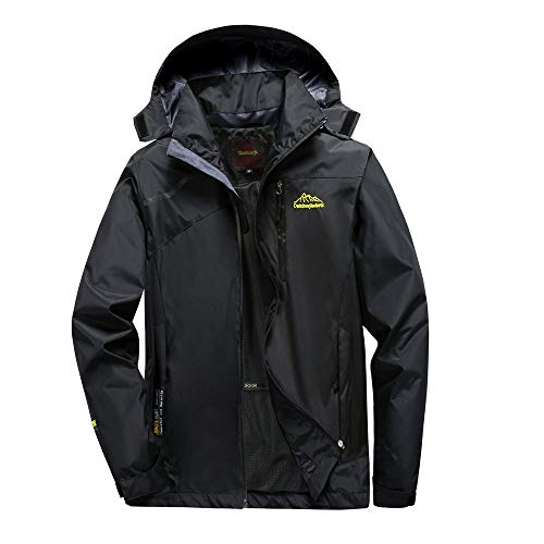 (Aurorax Raincoats Waterproof Jacket Plus Size,Men Fall Parka,Long Hooded Coat Outwear Zipper Jacket (Black (Men),)