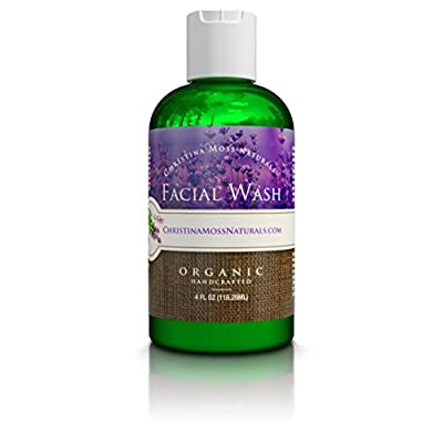 Facial Wash, Organic and 100% Natural Face Cleanser. Skin Clearing Soap, Anti Blemish, Fights Acne, Non Drying, Non Oily. No Harmful Chemicals. For Women and Men. By Christina Moss Naturals.