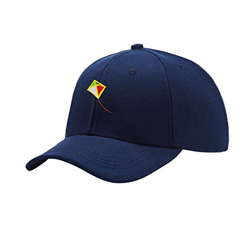 NeeKer Kite Navy Blue Peaked Hat Embroidered Logo Adjustable Dad Cap - Navy Blue Kite