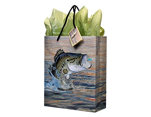 (Fishing Gift Bag, Medium, 10 x 12 x 4.25 Inches, Gone Fishin' Party Collection by)