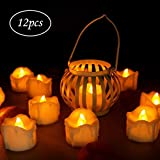 Flameless Candles, Kktick LED Tea Light Candles with Timer Function Battery Operated LED Tea Llights Perfect for Wedding Birthday Christmas Party Celebration, 12 Pack