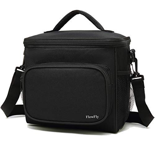 - Insulated Reusable Lunch Bag Adult Large Lunch Box for Women and Men with Adjustable Shoulder Strap,Front Zipper Pocket and Dual Large Mesh Side Pockets by FlowFly,Black