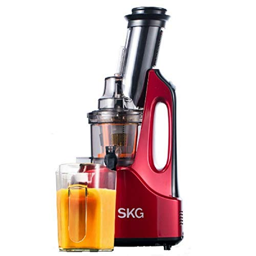SKG Wide Chute Anti-Oxidation Slow Masticating Juicer (240W AC Motor, 60 RPMs, 3' Large Mouth) - Vertical Masticating Cold Press Juicer - Fruit and Vegetable Juice Extractor