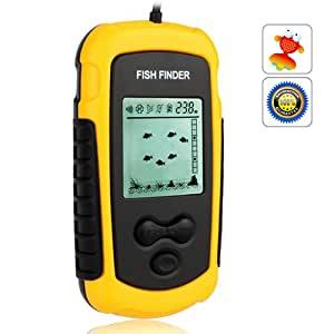 Portable fish finder alarm transducer yellow for Amazon fish finder
