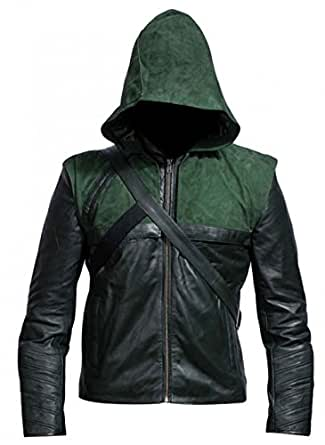 Green Arrow Stephen Amell Hooded Leather Costume Jacket (XX-Small)