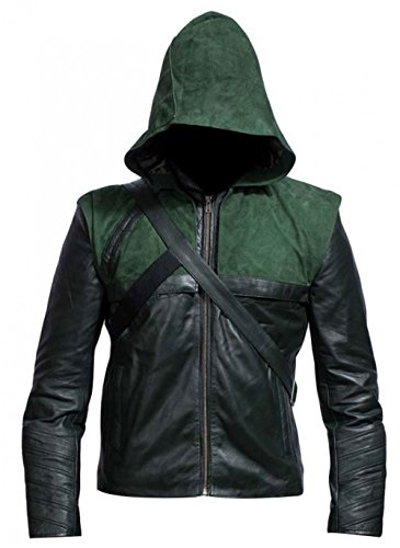 Green Arrow Stephen Amell Oliver Queen Hooded Costume Leather Jacket for $<!--$77.99-->