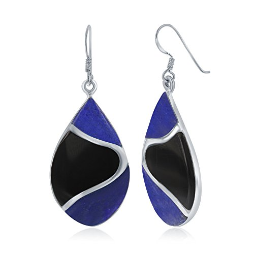 Natural Blue Lapis Inlay Ring - Sterling Silver Natural Onyx and Lapis Pear-Shaped Earrings