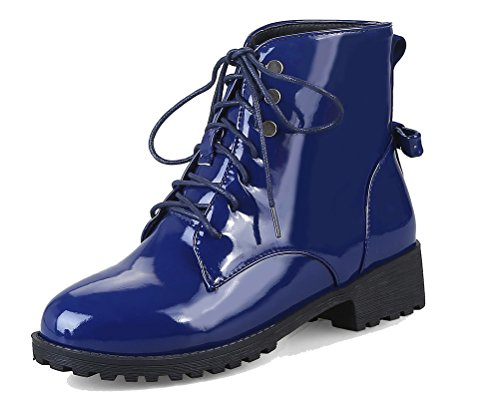 HiTime Women's Classic Lace up High Top Martin Boots Waterproof Patent Leather Bowknot Dress Boots Size 2-11 Blue