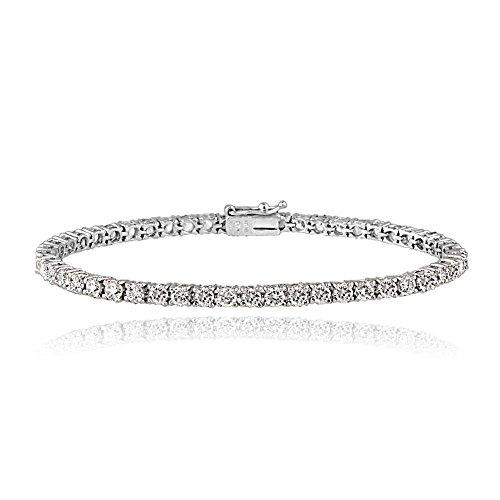 - Glitzs Jewels Platinum Plated Sterling Silver 100 Facets Cubic Zirconia Tennis Bracelet