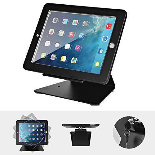 Firstand iPad Stand Holder, iPad Desktop Anti-Theft Security POS Stand Holder Enclosure with Lock and Key Compatible for iPad 2,3,4 and iPad air/air 2, iPad Pro 9.7