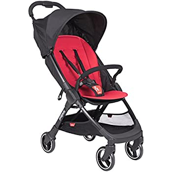 phil&teds Go Umbrella Travel Stroller, Cherry – Ultra Light (11lbs) – Compact, One Hand Stand Fold – Removable Bumper Bar – Removable and Reversible Seat ...