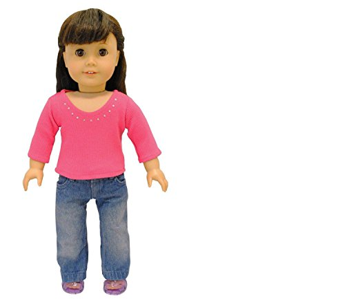 Pink Butterfly Closet Doll Clothes - 2 Piece Doll Clothing Set Fashion Jeans and Long Sleeve Shirt Fits American Girl Doll and 18 inch Dolls -