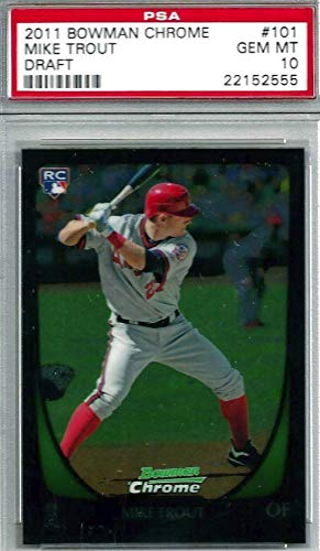 2011 Bowman Baseball Rookie Card - 2011 Bowman CHROME Draft Picks & Prospects - Mike Trout - Los Angeles Angels Baseball Rookie Card - GRADED PSA 10 GEM MINT #101