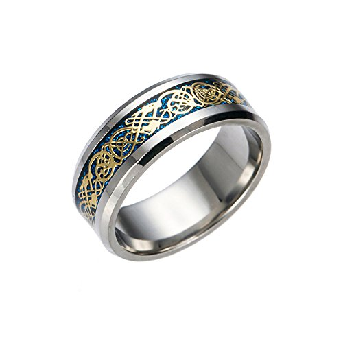 Aragorn Crown Costume (Dragon Scale Dragon Pattern Beveled Edges Celtic Rings Jewelry Wedding Band for Men (7))
