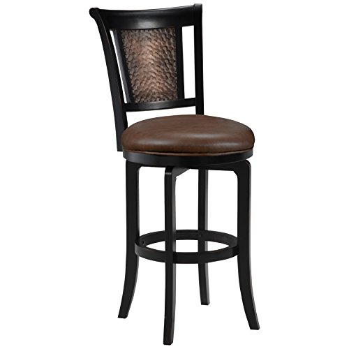Hillsdale Furniture Swivel Counter Stool in Distressed Black Honey Finish