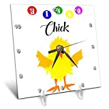3dRose All Smiles Art Sports and Hobbies - Funny Bingo Chick Playing Bingo Cartoon - 6x6 Desk Clock (dc_288050_1)