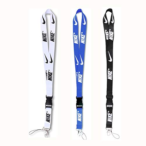 Lanyard Key Chain Holder, Neck Lanyard with Hook and Buckle for Keys Phones ID Badge Holder Bags Accessories 3 Pack Black White Blue