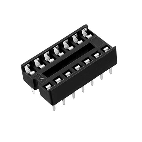 uxcell 40pcs 2.54mm Pitch 7.6mm Row Pitch 2 Row 14 Flat Pins Soldering DIP IC Chip Socket Adaptor