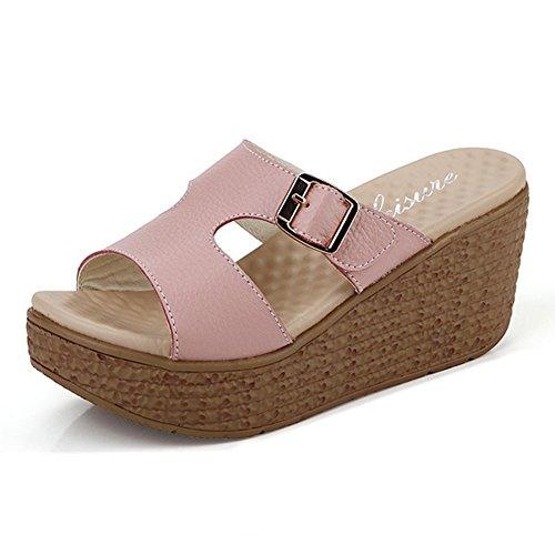 Btrada Imperméable À Leau Décontractée Wedge Flip Flops Plage Plate-forme  Sandales Rose. chaussures ...