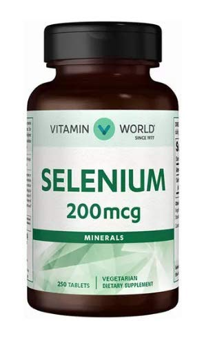 Vitamin World Selenium 200 mcg.Vegetarian Dietary Supplement 250 Tablets ()
