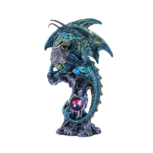 Falkor Green Dragon Knight Perching On Tree Of Life Figurine - Falkor Dragon
