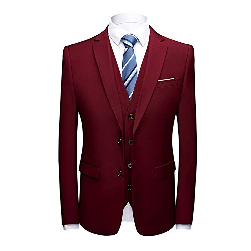 MAGE MALE Men's 3 Pieces Suit Elegant Solid Two Button Slim Fit Single Breasted Party Blazer Vest Pants Set (Wine Red, ()