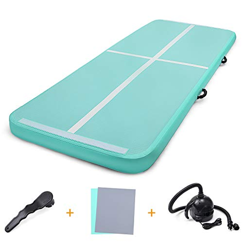 Gonex 9.84ft Inflatable Gymnastics Mat, Airtrack Tumbling Mat with Electric Air Pump for Trainning, Gym, Yoga, Pilate, Indoor/Outdoor Exercise Mint ()