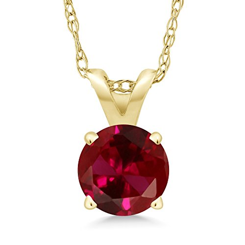 Gem Stone King 1.00 Ct Round Red Created Ruby 14K Yellow Gold Pendant With Chain