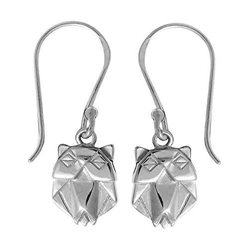 Boma Sterling Silver Origami Style Owl Earrings (Earrings Origami Owl)