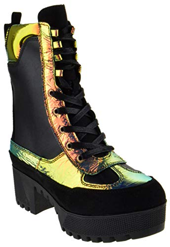 - Bambo Powerful 06S Womens Chunky Heel Platform Lug Sole Military Combat Boots Mermaid 9