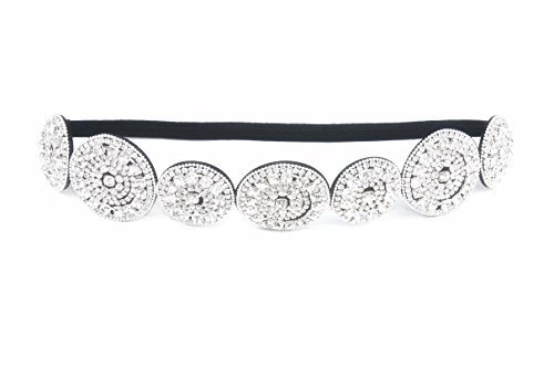 - Thick Patterned Shimmering Bling Bridal Rhinestone Elastic Headbands (Style E) by Sizzle City