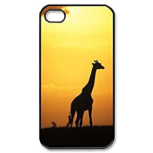 Pink Ladoo? Giraffe Sunset Africa Hard Cover Case for iPhone 5 5s case -black CASE