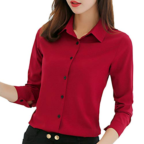Manica Camicie Carriera Chiffon Donna Fashion Lunga Casual Solid Rosso Office Camicetta Top zaIqrz