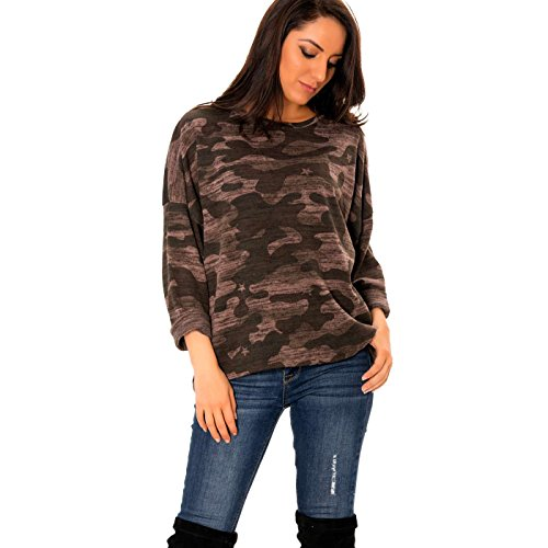 Line Taupe Miss Pull Militaire Motifs avec Wear 8qSOzxS5