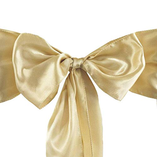 Set of 10 Chair Decorative Satin Sashes Bow Designed for Wedding Events Banquet Home Kitchen Decoration (Champagne)