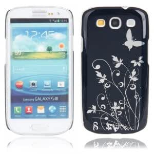 Plastic Protective Case with Shiny Butterfly Flower Pattern for Samsung i9300 Black