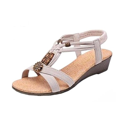 Plat Chaussures Femmes Sandales Vintage Kaki Casual Oriskey toe D'été Roman Peep Bohême Bijoux Boucle SYdqZIw