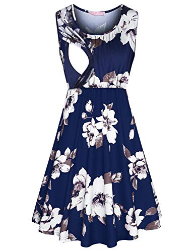 JOYMOM Breastfeeding Dress,Latched Mama Nursing Dresses for Baby Shower Maternity Cute Flattering Soft Round Neck Sleeveless Empire Waist Floral Nightgown Postpartum Clothes Blue Flower ()