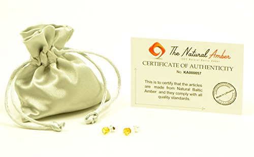 Genuine Baltic Amber Stud Earrings with Sterling Silver, Hand Made From Genuine Baltic Amber (Lemon)