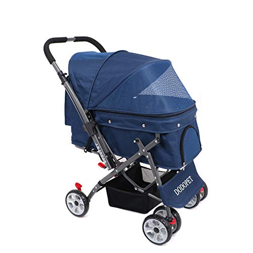 DODOPET – Dog/Cat / Pet Stroller, 4 Wheel Dog Cage Stroller, Reversible Handle Bar, Pet Travel Folding Carrier, Strolling Cart, Strong and Stable, for Medium Pets Up to 50 lbs, Navy Blue