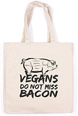 Vegan - Bolsa de lona de algodón con estampado ecológico, diseño ...