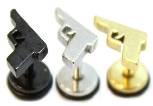 3Boucles d'oreille de pistolet en boucles d'oreille à tige en acier inoxydable chirurgical Boucles d'oreilles pour homme Noir argent/doré argent