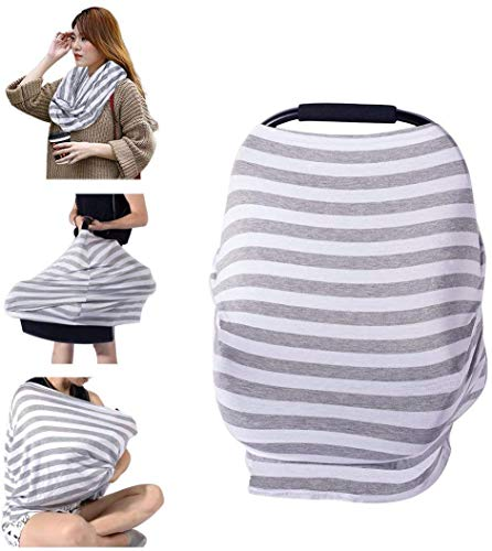 PPOGOO Nursing Cover for Breastfeeding Super Soft Cotton Multi Use for Baby Car Seat Covers Canopy Shopping Cart Cover Scarf Light Blanket Stroller Cover from PPOGOO