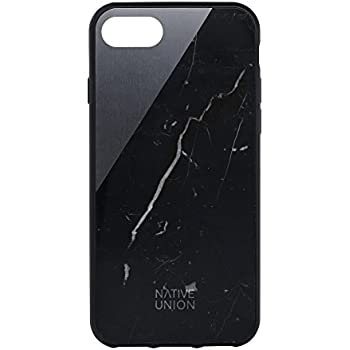 Native Union CLIC Marble Case for iPhone 7, iPhone 8 - Handcrafted Real Marble Drop-Proof Protective Cover with Metal Slash (Black)