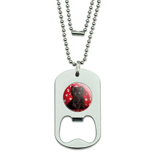 (GRAPHICS & MORE Black Ragdoll Tiffany Cat Kitten Hearts Love Military Dog Tag Bottle Opener Pendant)