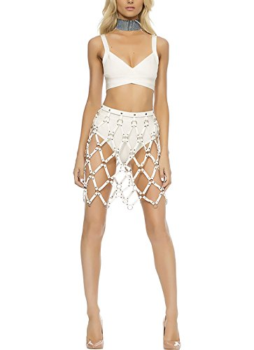 - Norboe Women Adjustable Hollow Out Sexy Leather Weaved Skirts fashion body harness(White)