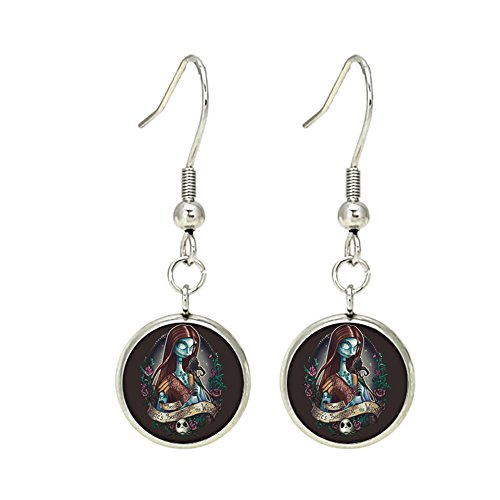 Nightmare Befor Christmas Sally Disney Dangle Earrings TV Movies Classic Cartoons Superhero Logo Theme Jack Skelton Premium Quality Detailed Cosplay Jewelry Gift Series